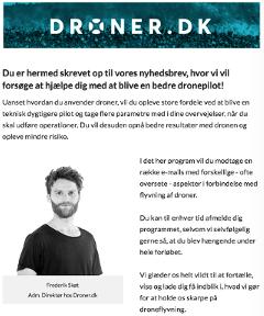 droner.dk nyhedsbrev tilmelding velkomstmail